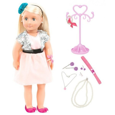 Our Generation, Lalka Anya - blondynka z zestawem biżuterii do stylizacji (z kolczykami - przebite uszy)