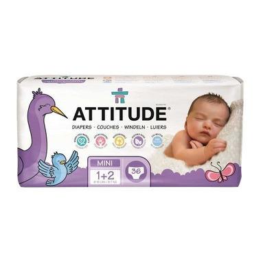 ATTITUDE, Little Ones, Ekologiczne pieluszki dla Niemowląt Rozm 1-2 (3-7 kg), 36 szt.