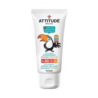 Attitude, Krem do opalania dla dzieci 100% mineralny bezzapachowy SPF 30 75 ml