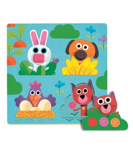 Drewniane Puzzle  Wesołe Zwierzątka Djeco
