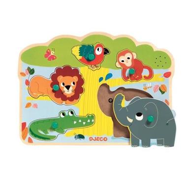 Djeco, puzzle drweniane zwierzątka w ZOO z dźwiękiem