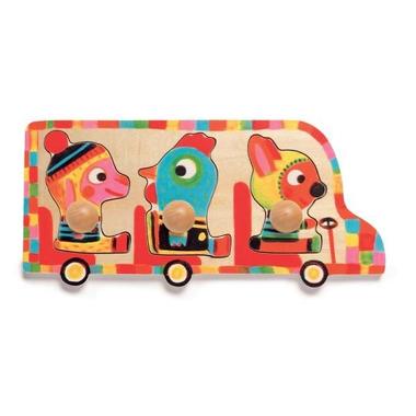 Djeco, puzzle drewniane zwierzątka w busie