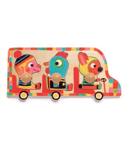 Puzzle drewniane zwierzątka w busie