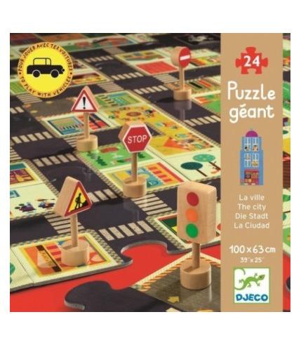 Puzzle ulice ze znakami drogowymi 3 D Djeco