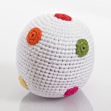 Grzechotka Piłka biała w kropki Pebble