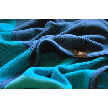 Dzianinowy  kocyk pasy niebieski turkus