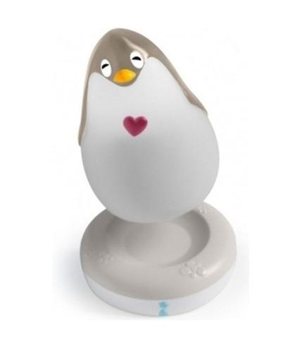 Lampka przytulanka Pingwin z pozytywką szara