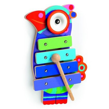 Djeco, drewniane kolorowe cymbałki - ptaszek