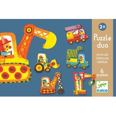 Djeco, puzzle tekturowe 2 elementowe pojazdy