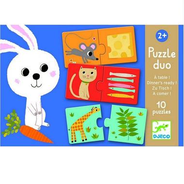 Djeco, puzzle duo co jedzą zwierzęta