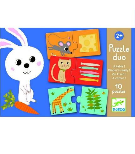 Puzzle duo  co jedzą zwierzęta Djeco