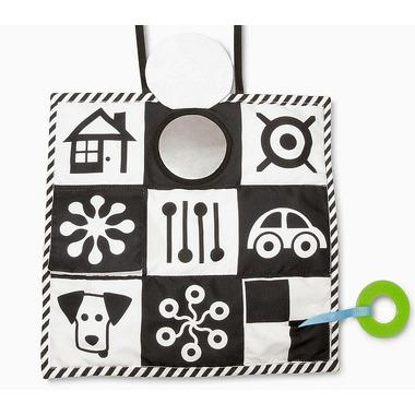 Czarno biała materiałowa zabawka dla niemowląt