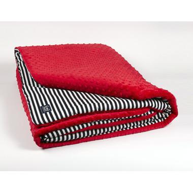 Kocyk czerwony w paski 110x140