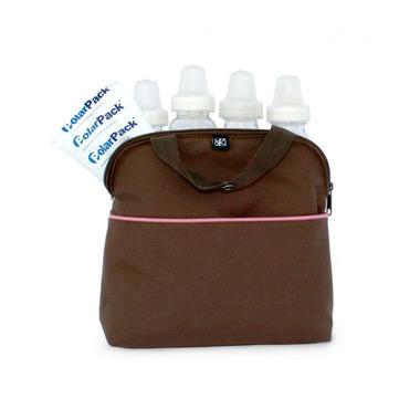 Termoopakowanie-torba - 4butelki - brązowo-różowe
