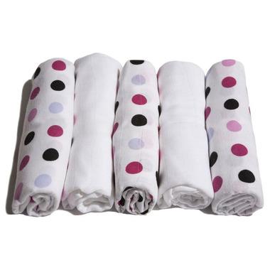 Motherhood, pieluszki bawełniane różowo-czarne kropeczki