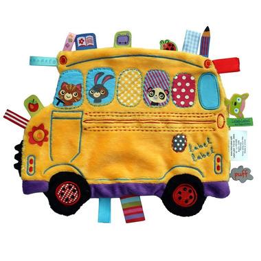 Przytulanka kocyk z metkami Label Label -  Autobus żółty