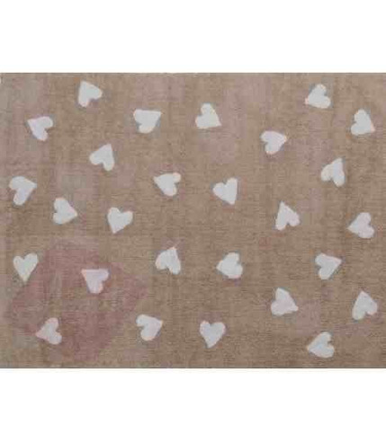 Dywan do prania w pralce Linen Heart White