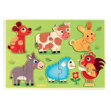 Djeco, drewniane puzzle Zwierzęta z farmy