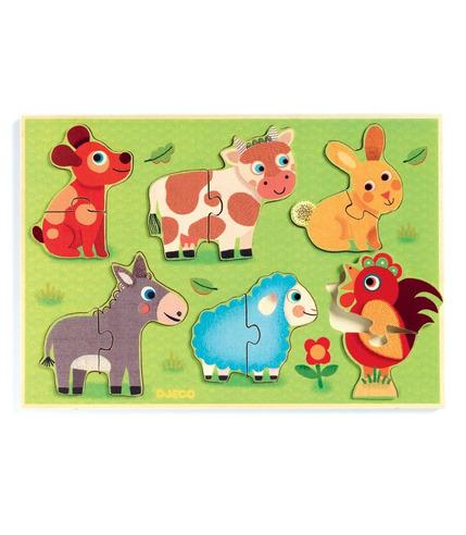 Drewniane puzzle Zwierzęta z farmy Djeco