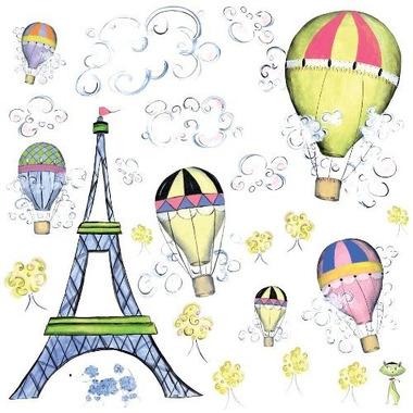 RoomMates, naklejki wielokrotnego użytku - Podróż balonem po Paryżu