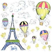 Naklejki wielokrotnego użytku - Podróż balonem po Paryżu