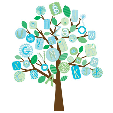 RoomMates, naklejki wielokrotnego użytku - Literkowe drzewo niebieskie