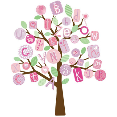 RoomMates, naklejki wielokrotnego użytku - Literkowe drzewo różowe