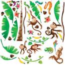 Naklejki wielokrotnego użytku - Małpki