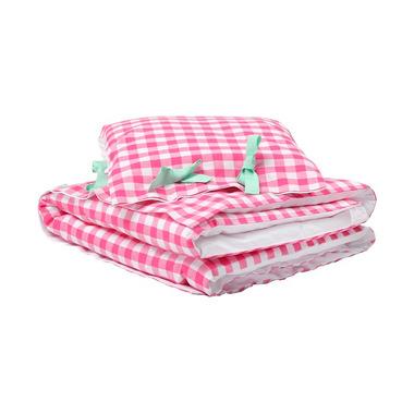 Pościel do łóżeczka różowa kratka