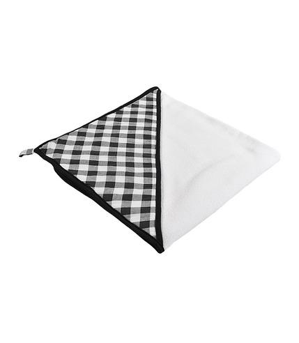 Ręcznik z kapturkiem mały czarna kratka