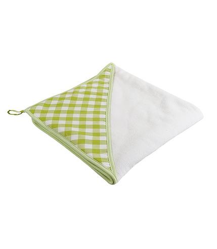 Ręcznik z kapturkiem mały zielona kratka