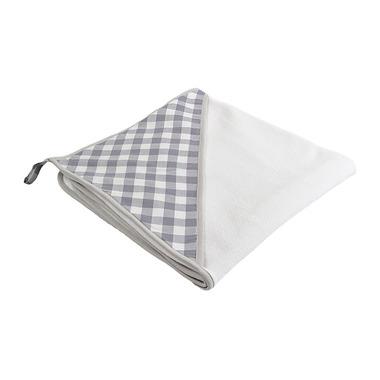 Ręcznik z kapturkiem duży szara kratka