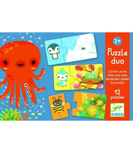 Puzzle duo Gdzie śpią zwierzątka  Djeco