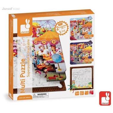 Janod, puzzle 3 w 1 Wesołe miasteczko