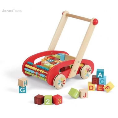 Janod, wózek z klockami - alfabet i liczydło