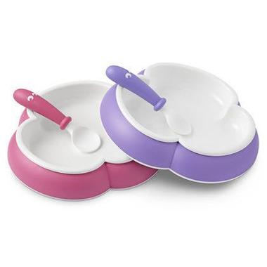 BabyBjorn, talerzyki z łyżeczkami - fioletowy / różowy