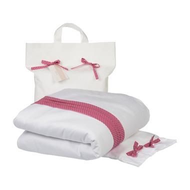 Poofi, biała pościel z różową wstawką w fioletowe kropki