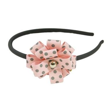 Opaska szara z różową rozetką w kropki
