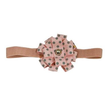 Opasko-gumka różowa w szare kropeczki