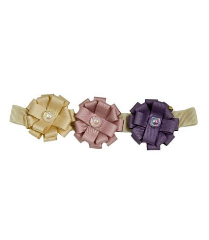Opasko-gumka  3 rozetki pudrowa różowa i fioletowa