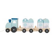 JaBaDaBaDo, drewniany pociąg z klockami niebieski