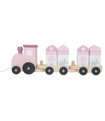 JaBaDaBaDo, drewniany pociąg z klockami różowy