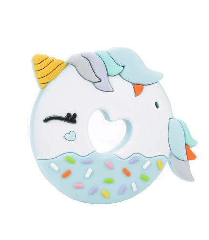 LouLou Lollipop, gryzak silikonowy Unicorn Donut niebieski
