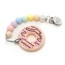 LouLou Lollipop, gryzak silikonowy z zawieszką Donut pink