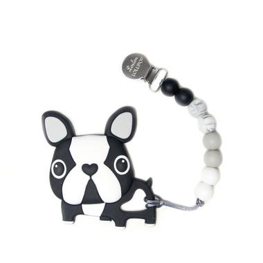 LouLou Lollipop, gryzak silikonowy z zawieszką Boston Terrier black