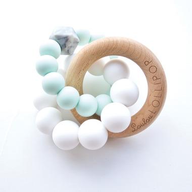 LouLou Lollipop, Gryzak Drewniany z Koralikami Trinity Mint