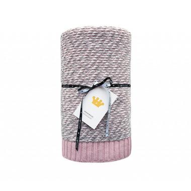 Lullalove, Ciepły koc bawełniany z wełną - różowy
