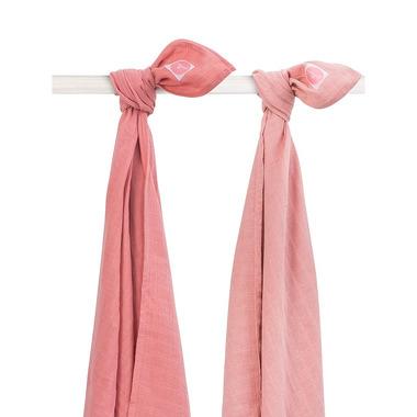Jollein, Otulacze 115x115 cm Duo coral pink (2 sztuki)