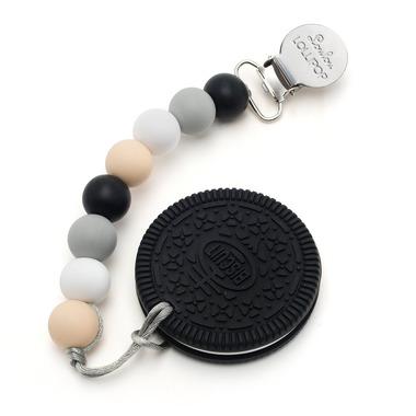 LouLou Lollipop, gryzak silikonowy z zawieszką Oreo Cookie neutral black