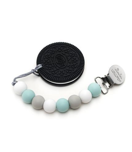 LouLou Lollipop, gryzak silikonowy z zawieszką Oreo Cookie baby blue